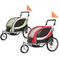 SAMAX Children Bike Trailer PREMIUM 2in1 Kids Jogger Stroller with Suspension 360° rotatable Childs Bicycle Trailer Transport Buggy Carrier for 2 Kids in Green/Grey - Silver Frame
