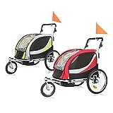 SAMAX PREMIUM Remorque Vélo convertible Jogger 2en1 360° rotatif Pour 2 Enfants Amortisseur Transport Poussette in Rouge/Gris - Silver Frame