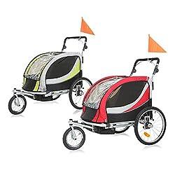 SAMAX PREMIUM Fahrradanhänger Jogger 2in1 360° drehbar Kinderanhänger Kinderfahrradanhänger Transportwagen vollgefederte Hinterachse für 2 Kinder in Grün/Grau - Silver Frame