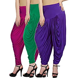 Fashion And Freedom Women's Pack of 3 Magenta, Green And Violet Viscose Dhoti