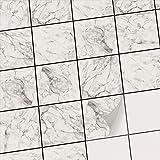 Fliesenmosaik Dekoaufkleber Fliesenspiegel | Sticker Aufkleber Fliesen Folie Selbstklebend Badezimmer renovieren Küche Fliesen-Tattoo | 10x10 cm - Motiv Marmor Weiß - 40 Stück