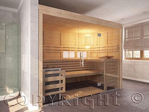 Preisvergleich Produktbild Sauna mit Glasfront 210 x 210 x 202 cm Massivholz 45 mm m. EOS Saunaofen u. Econ