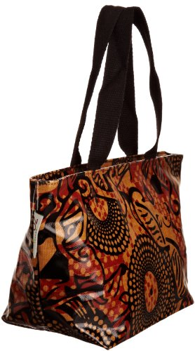 Re-uz Small Oilcloth Tote Tribal, Damen Tote Orange/Black