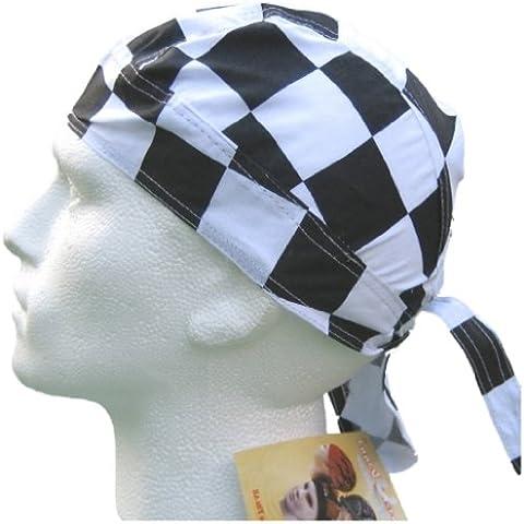 Bandana pañuelo para la cabeza pre atada en blanco y negro cocinero