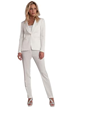 Whole suit jacket and white trousers for women: Amazon.co.uk: Clothing