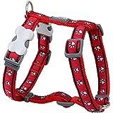 Red Dingo Desinger Dog Harness, Pawprints Red (20mm x Neck: 36-59cm / Body 45-66cm) M