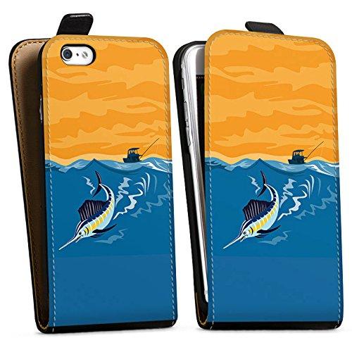 Apple iPhone X Silikon Hülle Case Schutzhülle Schwertfisch Angeln Fisch Downflip Tasche schwarz