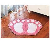 Weich Komfortabel Shaggy Füße Gemustert Rutschfester Saugfähigbadteppich,Teppichunterlage Innen und Außen Eingang Multicolor Fußmatte,Anwendbar auf 40 * 60 cm Zu 48 * 67 cm Bereich,Pink,40 * 60Cm