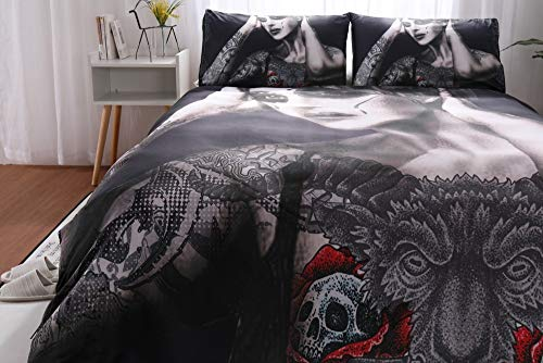 200TC Polyester Luxus 3d Halloween Schädel 2-3 Personen Bettwäsche Set + Flat Sheet + Kissenbezug, Fashion Beauty Bilder Super Soft Black Zipper Bettbezug Sugar Skull Bettbezüge Bettwäsche-Sets (Halloween 3 Person,)
