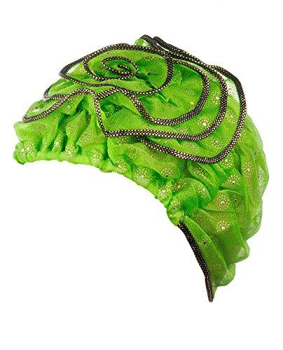 Turban extensible pour femme à accent floral. Produit offert par NYFASHION101. 060 Lime