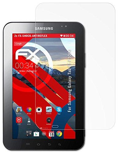 Samsung Galaxy Tab (GT-P1000) Panzerfolie - 2 x atFoliX FX-Shock-Antireflex blendfreie stoßabsorbierende Panzerschutzfolie Displayschutzfolie