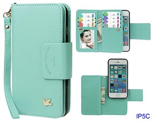 Hülle für iPhone 5C, xhorizon FX Prämie Leder Folio Case [Brieftasche] [Magnetisch abnehmbar] Uhrarmband Geldbeutel Flip Vogel Tasche Hülle für iPhone 5C mit 9H Hartglas Displayschutzfolie Minze