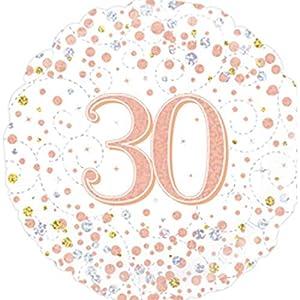 """OakTree 227116 - Globo de 30 cumpleaños, diseño con texto""""Happy 30th Birthday"""", color blanco y oro rosa, 45,7 cm"""