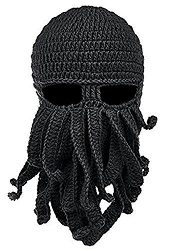 Bestfort Unisex Handarbeit Lustige Oktopus Strickmütze Bartmütze Stickmütze Häkeln Wollmütze Windschutz Mütze Halloween Party Maske Gesichtsmaske (Schwarz)