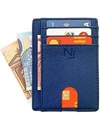 99740e08e2 Porta carte di credito anti-frode per uomo e donna in VERA PELLE Saffiano  NAILATI ® - Portafoglio sottile - Porta…
