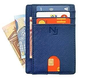 Porta carte di credito anti-frode per uomo e donna in VERA PELLE Saffiano NAILATI ® - Portafoglio sottile - Porta tessere e banconote - Cofanetto regalo incluso - Blu