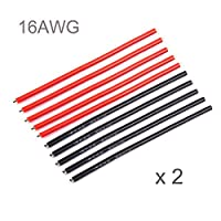 iFlight 20pcs 16awg Silicone Wire with Pre-tinned Ends 10CM High Temperature Resistant Soft and Flexible Silicone Rubber Wire Cable [10pcs Black + 10pcs Red] For RC Model Quadcopter Drones (16 Gauge)