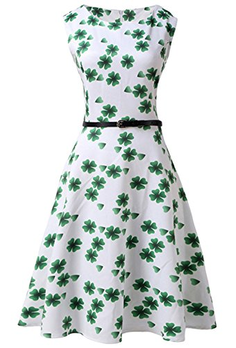 leid Weiß Rundhalsausschnitt Fresh Grün Kleeblatt Drucken Kleid Ärmellos St. Patrick Day Party Kostüm Dress (Frauen Irischen Kostümen)