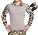 H Welt EU Taktisches Jagd Militär Langarm Shirt mit Ellenbogen Pads (Multicam, XL)