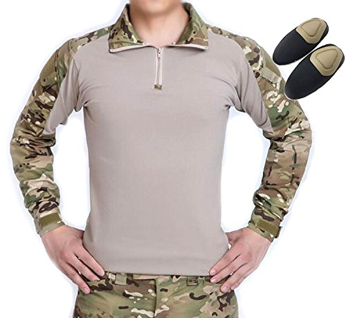 H Welt EU Taktisches Jagd Militär Langarm Shirt mit Ellenbogen Pads (Multicam, L)