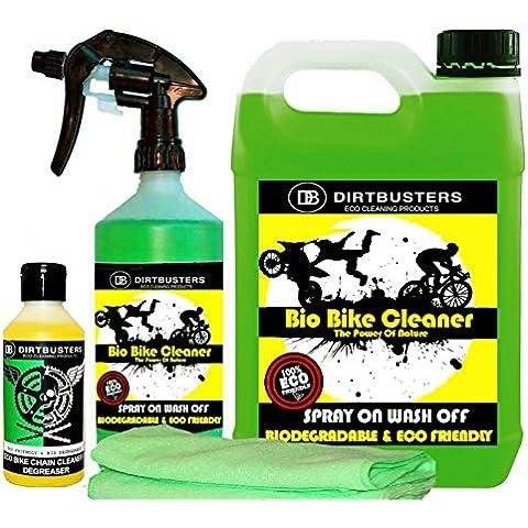 Dirtbusters Bio Bike Cleaner Set de limpiador ecológico para motocicletas, incluye 2 paños de microfibra con microbios y encimas, limpiador en spray de 1 litro, bidón de 5 litros de limpiador para rellenar y desengrasante para cadenas de 250 ml