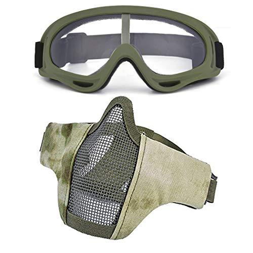 Kapmore Airsoft Maske, Mesh Gesicht Schädel Maske Airsoft Halbmaske Ausrüstung Stahl Airsoft Masken (Goggle + Mask(Camouflage))