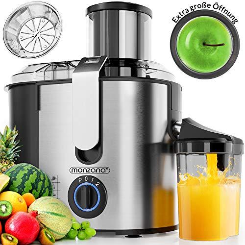 Monzana® Entsafter Obst Gemüse Edelstahl Motorleistung max. 1100W große 85 mm Einfüllöffnung inkl. Reinigungsbürste Saftbehälter 3 Geschwindigkeitsstufen