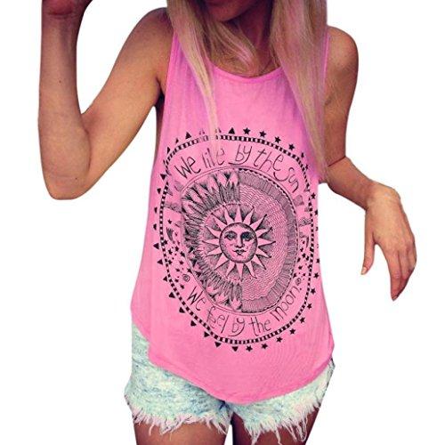 JUTOO Frauen Sonne Gedruckt Bluse Sleeveless Weste T-Shirt Bluse Casual Tank Tops (Groß, Pink) (Gedruckte Bett-set)