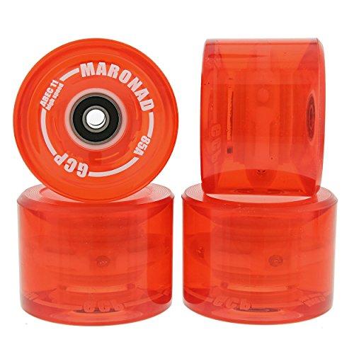 MARONAD 4 ST LONGBOARD LED RÄDER ROLLEN 85A 70X51 MM INKL ABEC-11 KÜGELLAGER ROT