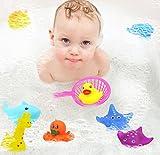 10 pezzi galleggiante giocattolo da bagno, giocattoli da bagno per bambini, piccoli animali galleggianti schizzi da bagno, piscina per bambini vasca da bagno galleggiante in gomma squeeze suono giocattoli del gioco (colore casuale)