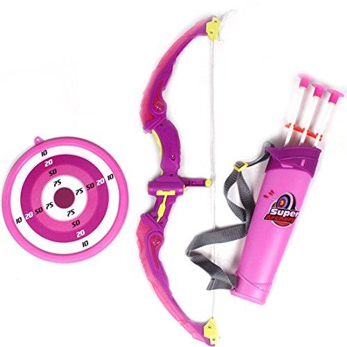 Sunbary Kinder Pfeil und Bogen Set,Bogenschießen Training Spielzeug mit 3 Starken Saugnapfpfeilen, Köcher und Zielscheibe, Kinder Schießspiele mit LED Licht (Rosa)