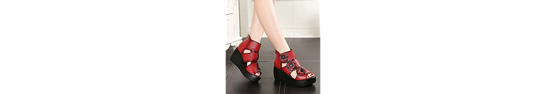 KHSKX Estilo Pastoral Original Con Suela Gruesa De Flores Hechas A Mano Con Sandalias Zapatos De Plataforma Con... -