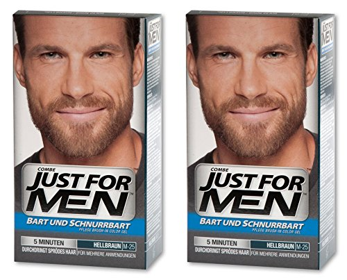 JUST FOR MEN Brush-In-Color-Gel für Bart und Schnurrbart, 2er Pack (2 x 28,4g) (2er Pack, Hellbraun)