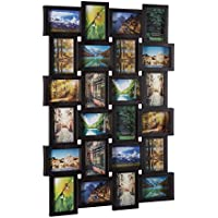 Relaxdays 10021954  Cadre photos pêle-mêle 24 photos Galerie mur cadre mural HxlxP: 59 x 86 x 2,5 cm, noir
