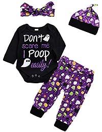 SamMoSon ☀☀Conjuntos De Ropa para Bebés Niño,Niño Pequeño Bebé Niñas Niños Carta Pantalones De Mameluco Trajes De Disfraces De Halloween Conjunto