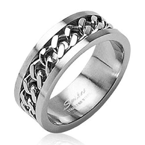 10 Mädchen Größe Ringe 9 Für (Ida Edelstahl Cuban Link Kette in der Mitte Ring 6mm SZ 5–8, 8mm SZ 9–14)