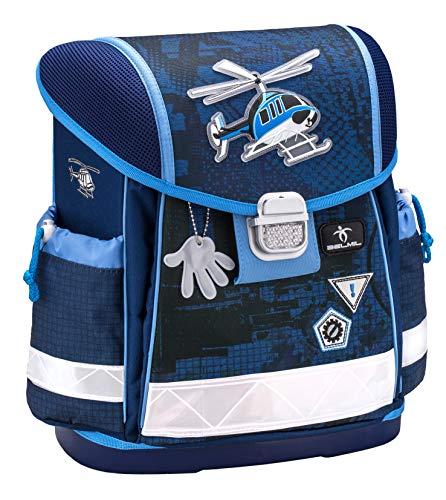Belmil Ergonomischer Schulranzen Jungen 1. klasse 2. klasse 3. klasse - Super Leicht 900-960 g/Grundschule/Hubschrauber Helikopter/Blau (403-13 Helicopter)