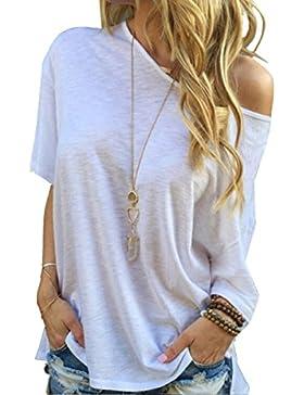 TININNA Moda Camiseta,Mujer verano casual suelto manga corta blusa de las tapas ocasionales de la camiseta Tops-blanco XL