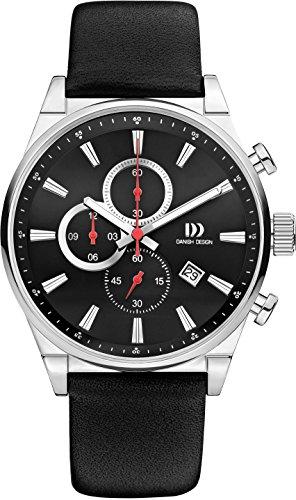 Danish Design Men's Quartz Watch with Black Dial Chronograph Display and Black Leather Bracelet DZ120293