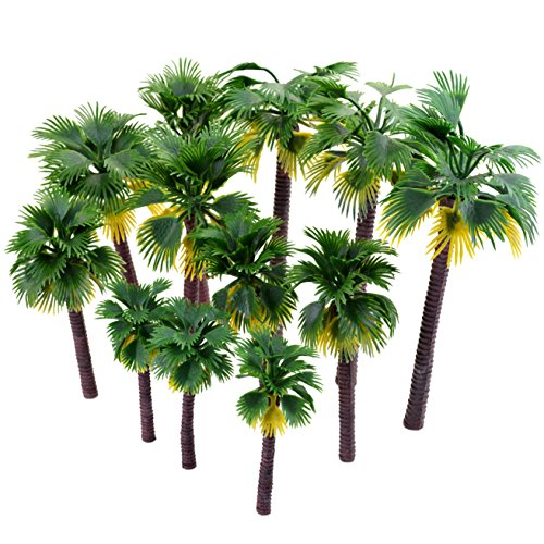 12 stk Künstliche Kunststoff Modelle Bäume, Ishua Grün Modell Palme Bäumen Palme für Landschaft Modellbau, Regenwald und Modelleisenbahn
