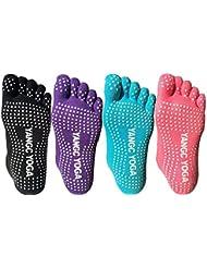 4paires de chaussettes antidérapantes en coton pour yoga, pilates, femme