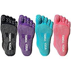 4pares Full Toe antideslizante Skid Yoga, Pilates calcetines algodón con agarres para mujeres (SET1)
