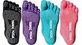 QBSM 4 Pairs Full Toe Non Slip Skid Yoga Pilates Socks with Grips Cotton for Women