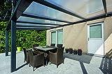 Climalux - Aluminium Terrassenüberdachung / Terrassendach Veranda - ALU Überdachung - 500 x 400 cm - Anthrazit - 16mm helle Polycarbonatplatten - CE-zertifiziert gemäß EN 1090-3