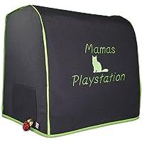 Abdeckhaube, Thermomix TM 5, mit Varoma, Mod. Mama's Playstation, Katze, Dunkelgrau mit apfelgrün, Schutzhaube, Hochzeit, Handmade, Personalisiert,
