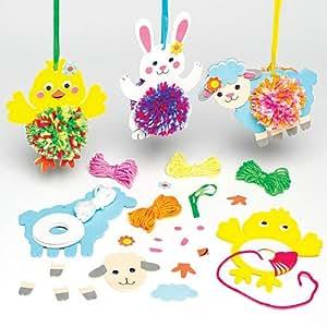 Decorazioni pasquali con pompon appendibili per bambini da creare decorare ed esporre come idea - Decorazioni pasquali bambini ...