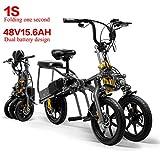 LANKELEISI 48V 15.6AH 350W Mini-Tricycle 2 Batteries Pliable Tricycle électrique 14 Pouces 1 Seconde Tricycle électrique Haut de Gamme Se Pliant Facilement