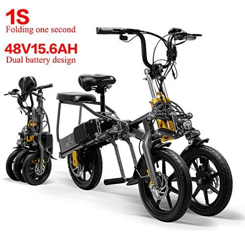 LANKELEISI 2 Batterie 48V 350W Mini Triciclo Elettrico Pieghevole Triciclo 14 Pollici 15.6Ah 1 Secondo High-End Triciclo Elettrico Pieghevole Facilmente