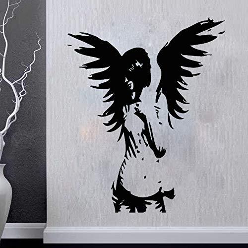 guijiumai DIY wandkunst Engel wandaufkleber riesen wächter Schlafzimmer Aufkleber fee Vinyl Aufkleber Dekoration grau 57x70 cm -