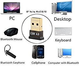 Brand Conquer Csr 4.0 USB Dongle Bluetooth Receiver for PC Support Windows OS 32/64 Bit